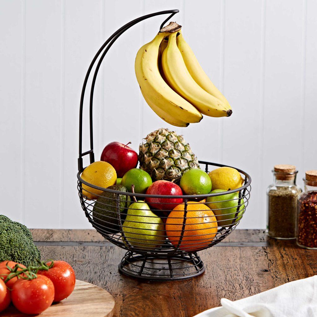 fruit basket with a banana hanger for kitchen