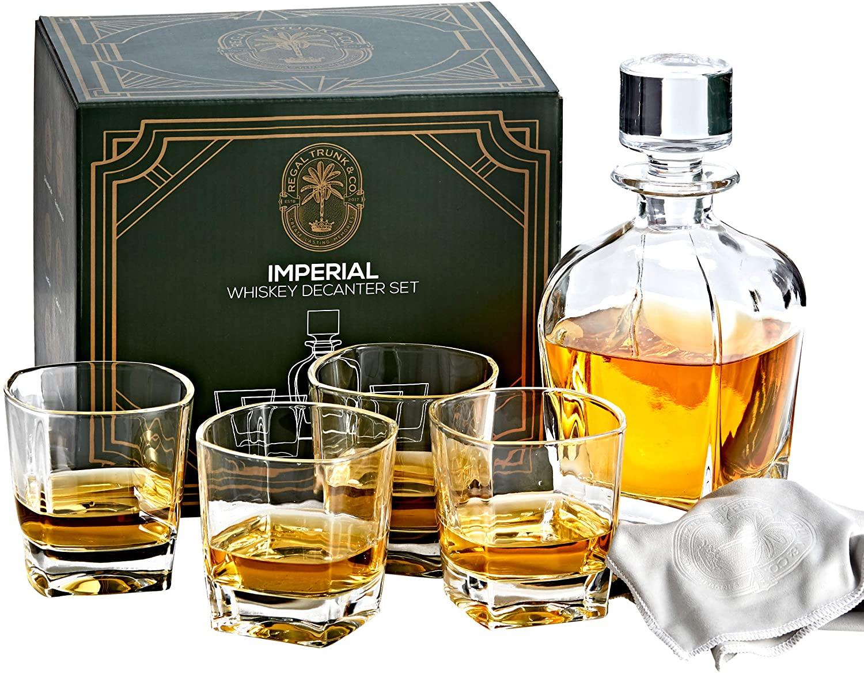 whiskey decanter set crystal
