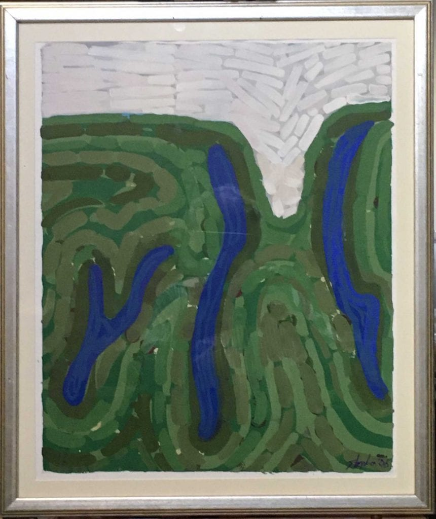 Trio in White, Blue, Green- Lake Country