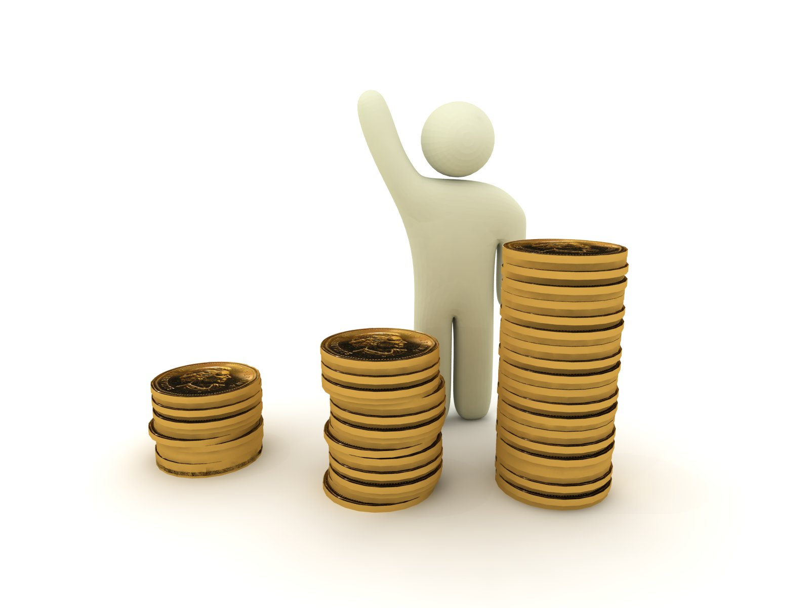 Human Figure with Stack of Coins