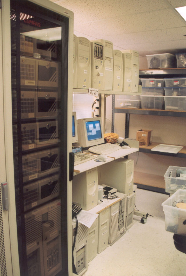 An old server room with computers