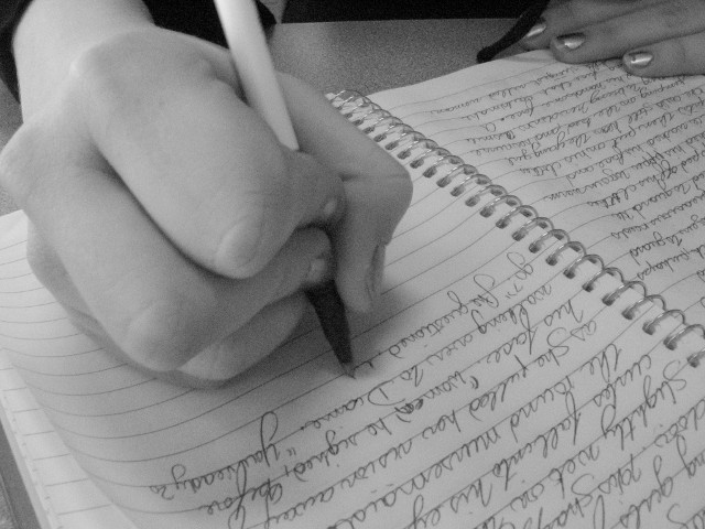Handwriting in a journal