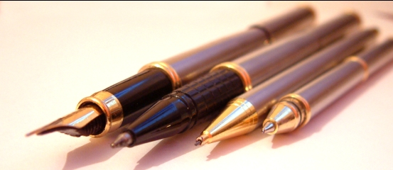 Pens on a table