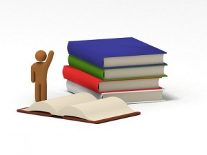 Some books and human figure