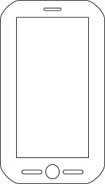 A line drawing of a smart phone