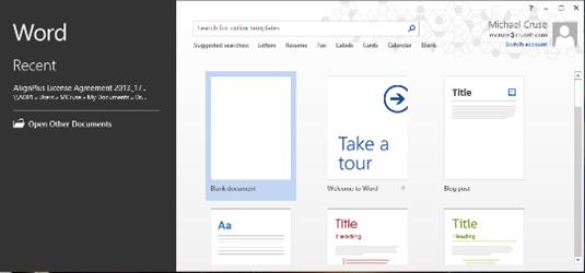 MS Word Start Screen