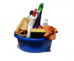 Cleaning products in a bucket