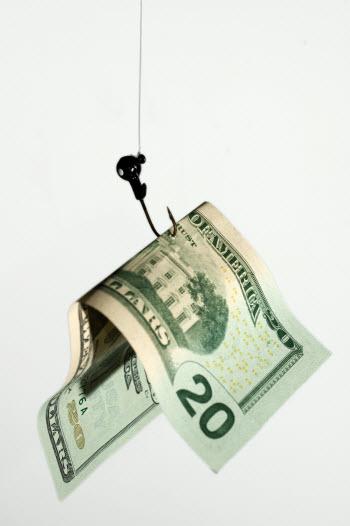 20 dollar bill caught in fishing hook