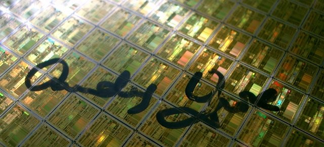 Andy Grove Signature on a Pentium Wafer