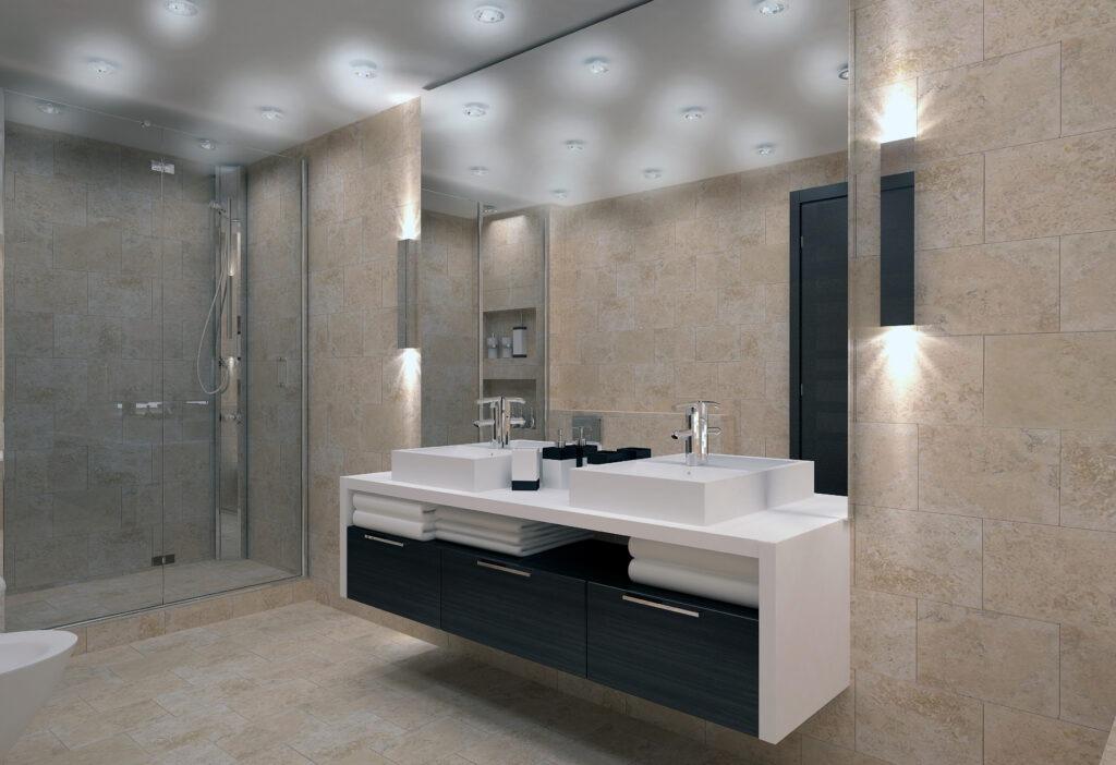 Backsplash idea; Full length bathroom mirror backsplash