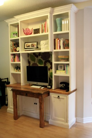 desk wall unit with rustic wood top