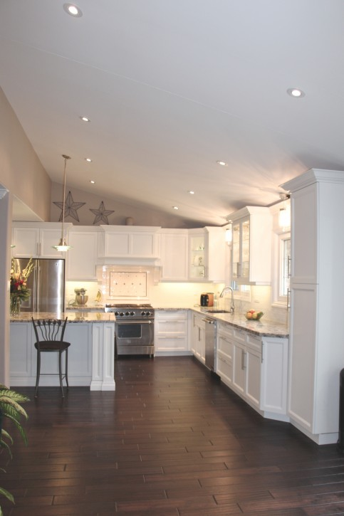 white kitchen cathedral ceiling