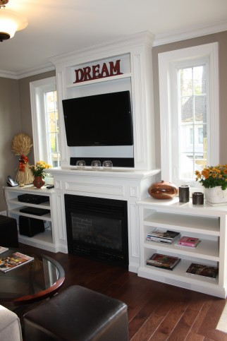 fireplace television wall unit with windows