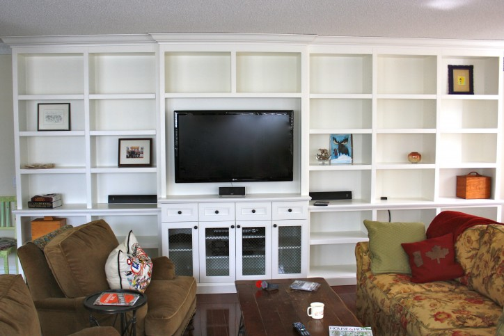 entertainment unit with mesh door inserts