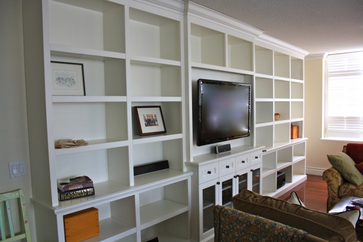 entertainment wall unit with library