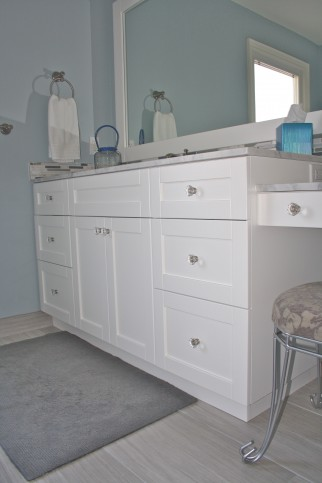 white shaker vanity with makeup 1
