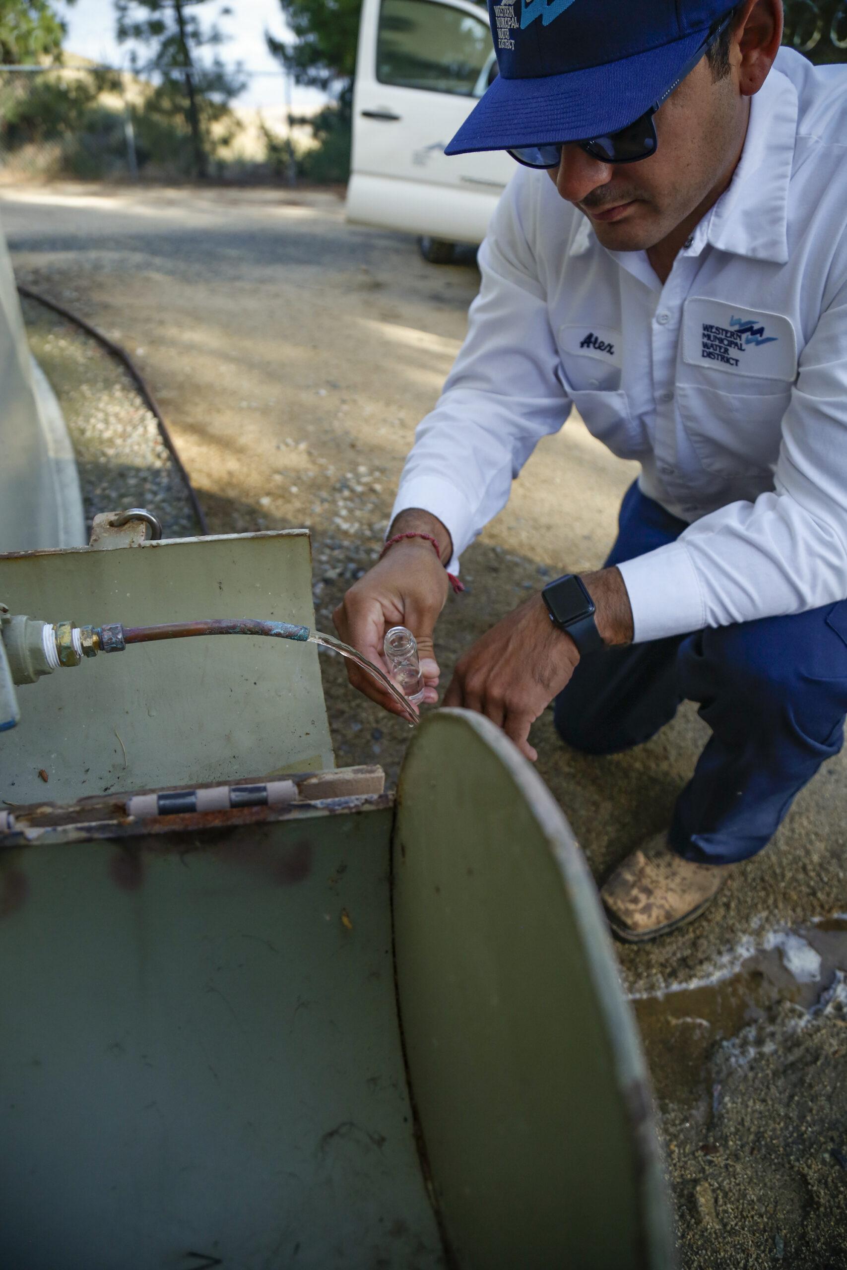 Western Municipal Water District employee performing water test