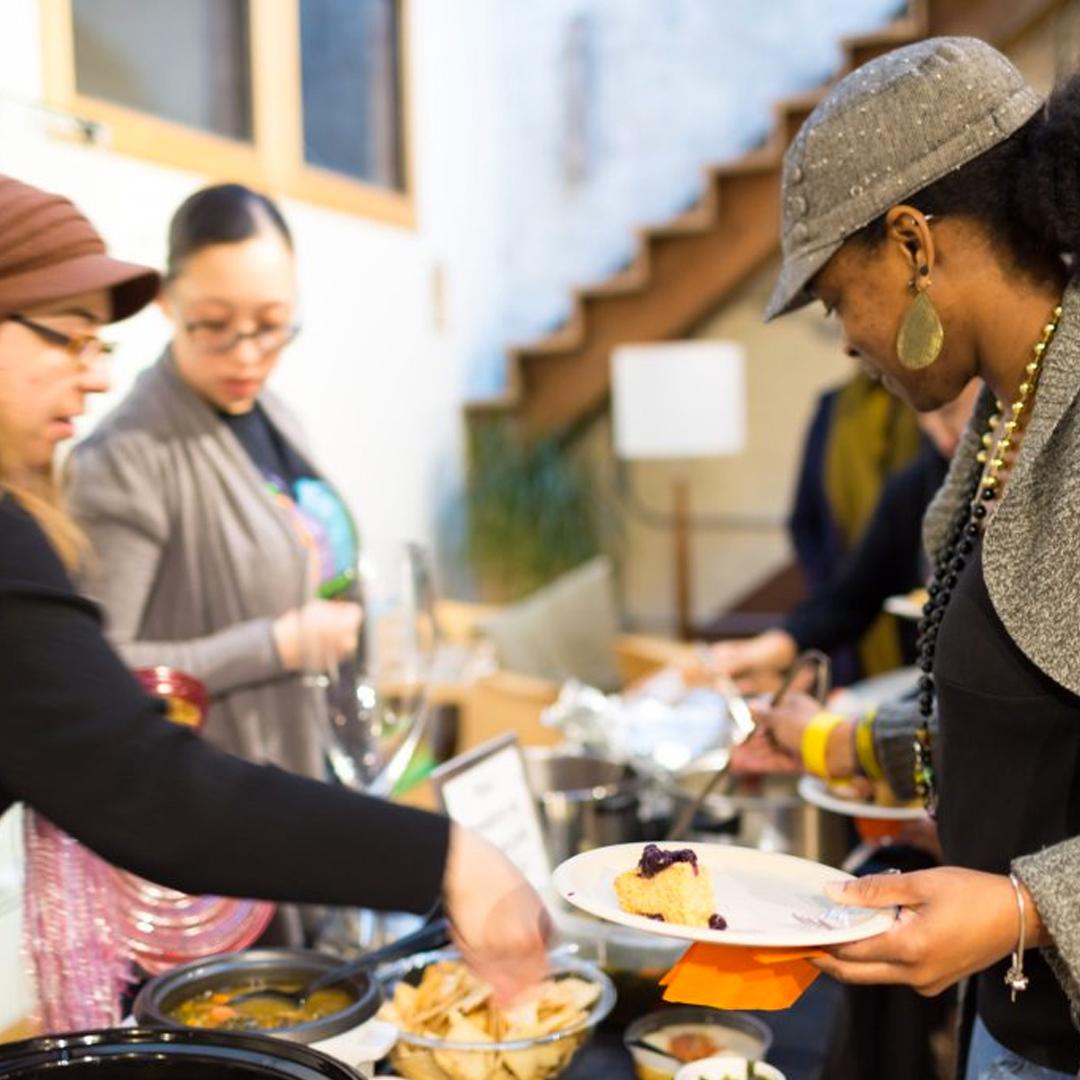 Women in line to get food