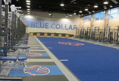 wall and floor graphics in a gym