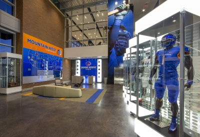 football display with a blue suit and wall graphics
