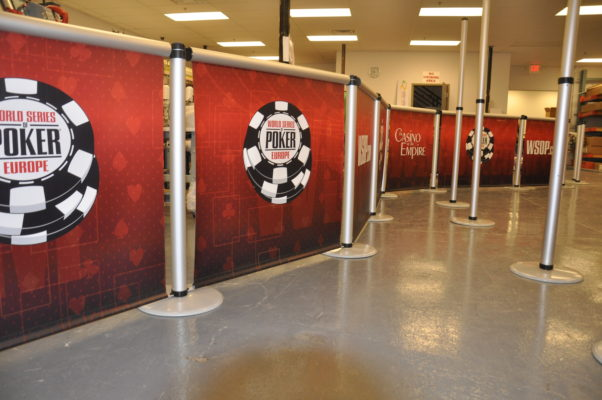 banner stands in Las Vegas for the world series of poker