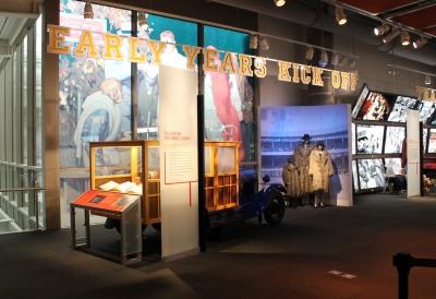 custom football display with memoribilia
