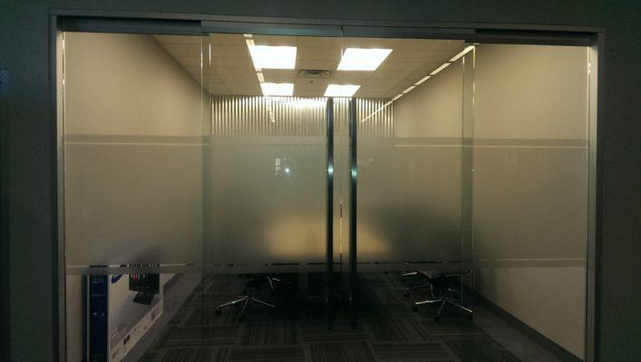 glass doors with metal handles