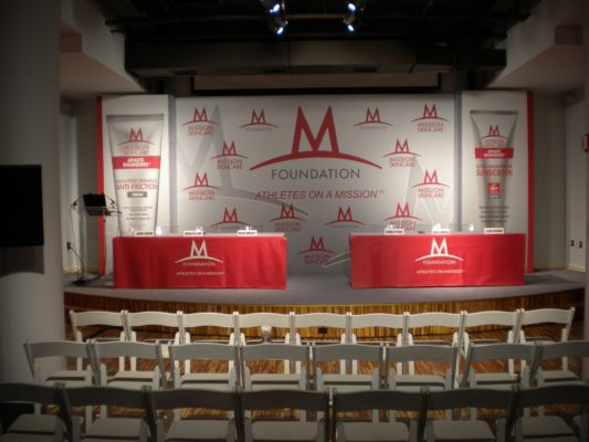 indoor conference graphics and backdrop