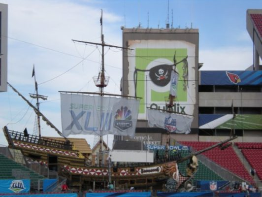 pirate ship with large graphics and wall banners