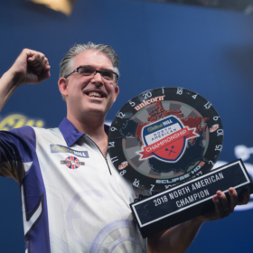 US & Masters Dart Winner with Trophy