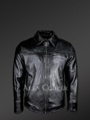 Men's Black Leather Jacket With Regular Shirt Collar - Alen Cooper