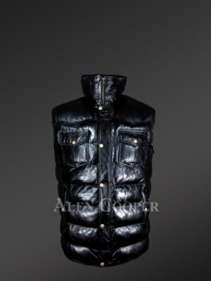 Puffy Leather Bubble Vest Jacket for Men new