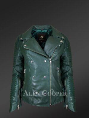 Authentic leather jacket redefines fashion for stylish women
