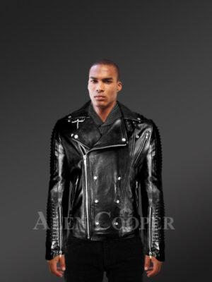 Men's Motorcycle Biker Jacket in Black - Alen Cooper