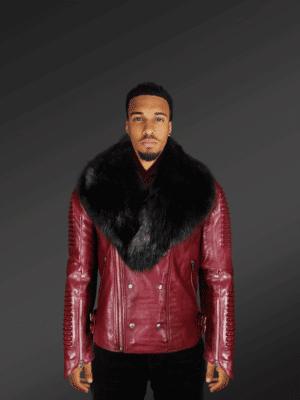 Men's wine Leather Moto jacket with fox fur collar new model