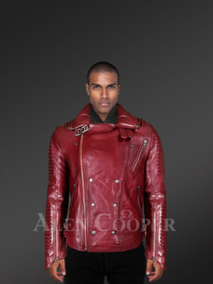 With Model Real Leather Assymetrical Zipper Biker Moto Jacket for Men