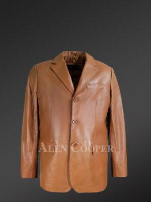 Men's Tan Dressy Leather Jacket - Alen Cooper