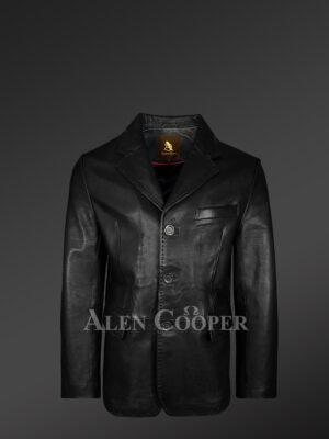 Men's Tan Dressy Leather Jacket - Alen Cooper balck