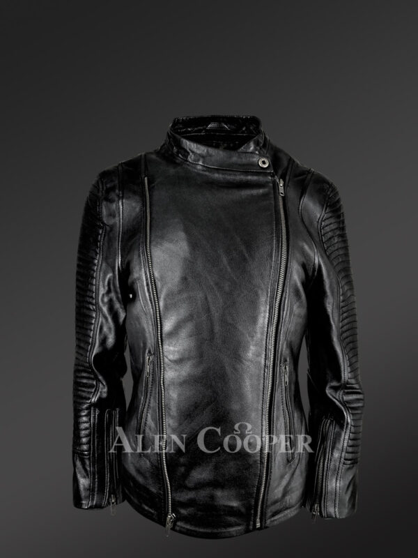 Stunning-Black-Pure-Leather-Jacket-With-Lapel-Collar-New- view