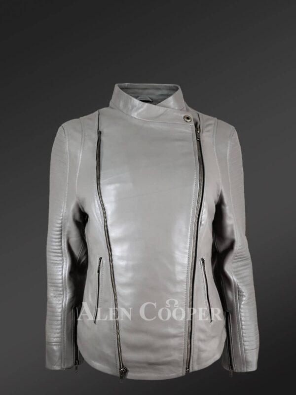 Women's Double Sided Zipper Motorcycle Jacket in Grey new view