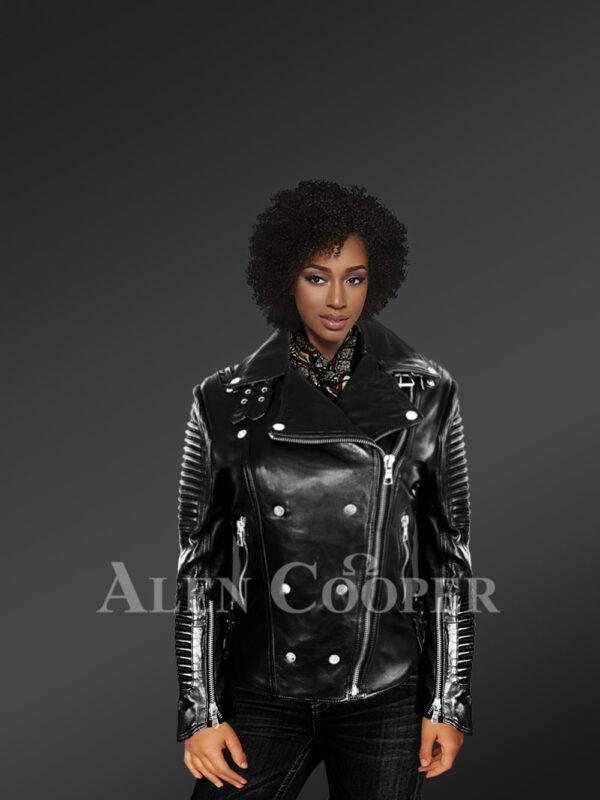 Women's Motorcycle Biker Jacket with Piped Sleeves in Black New views