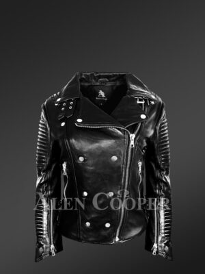 Women's Motorcycle Biker Jacket with Piped Sleeves in Black new