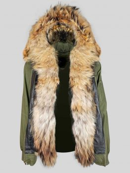 MILITARY GREEN PARKA FOR MEN'S WITH RACCOON FUR IN FRONT AND ON HOOD