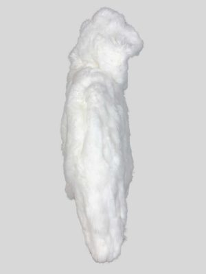 Snow-white real fur outerwear with hood Side View