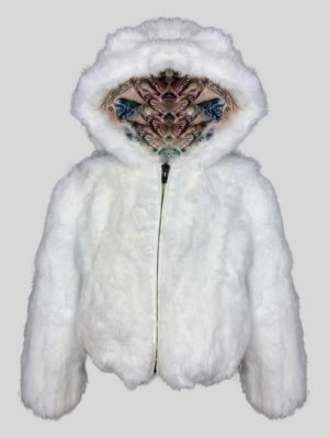 Snow-white real fur outerwear with hood
