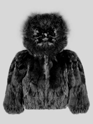 Black rabbit fur winter outerwear for kids