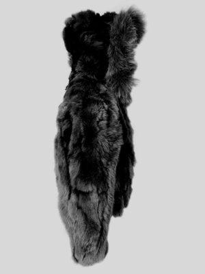 Black rabbit fur winter outerwear for kids sideview