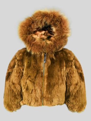 Double tone whisky color real rabbit fur outerwear