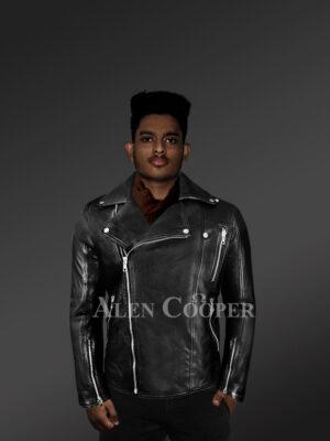 Men's Black Leather Motorcycle Biker Jacket with Model