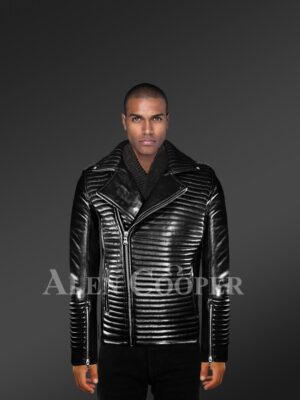 Men's Quilted Black Leather Motorcycle Jacket with Model